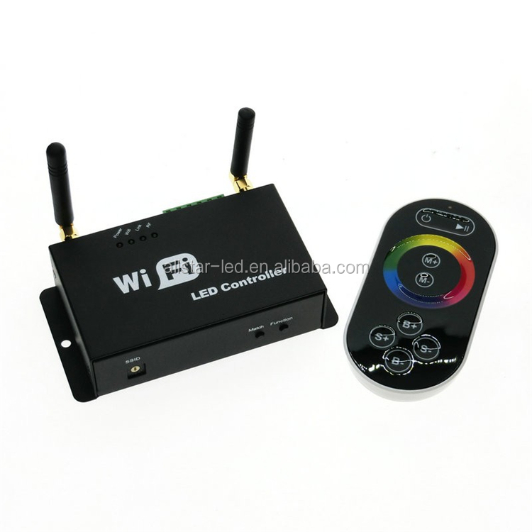 12V Led Wifi Controller with RF touch panel remote, led dimmer/color temperature/RGB controller controlled by IOS/android system