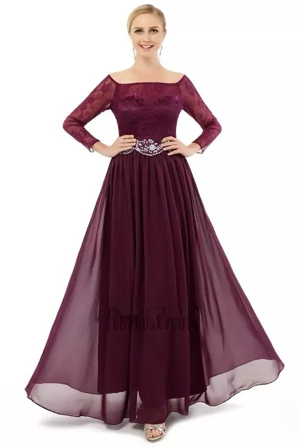 New Fashion Elegant A-line Scalloped long sleeve chiffon with beaded formal evening dress prom dresses ED586