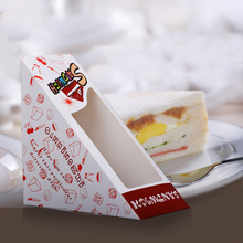 Custom printed triangle sandwich paper packaging box with window