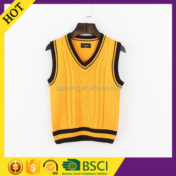 V-neck sleeveless winter heated primary students cool orange custom sweater vest