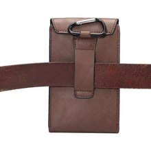 PU Leather Flip Hip Holster For Mobile Phone , Key Ring Metal Belt Hook Phone Pouch Bag