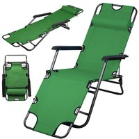 Patio Folding Recliner Lounge Chair Chaise (Green)