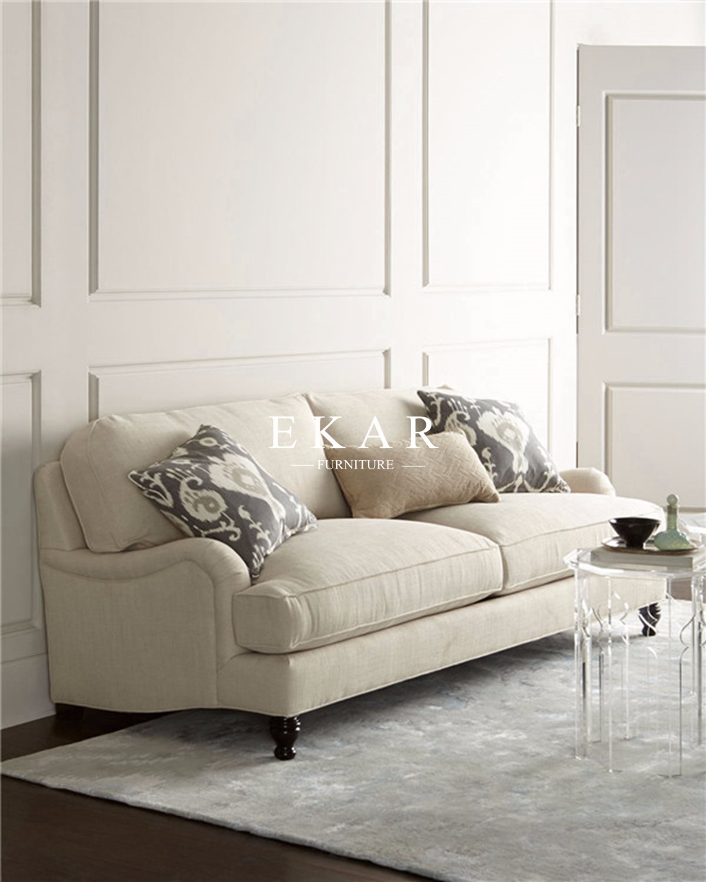 Off-white Fabric 2 seater Victorian Fabric 2 seater Sectional Sofa