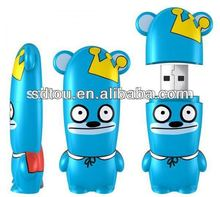 Factory manufacture PVC cartoon usb flash drive high quality blue