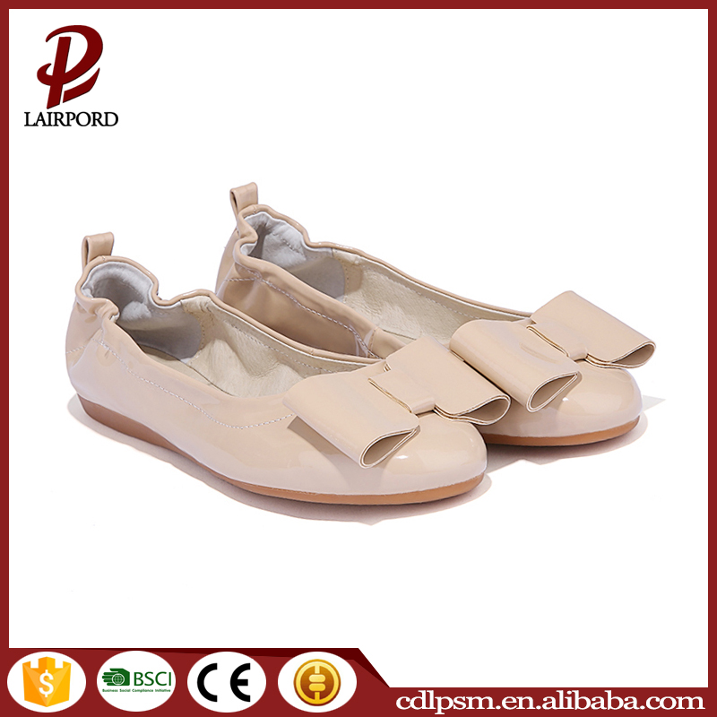 2016 China wholesale bow design fashion PU leather gum rubber sole leather new design ladies no heel flat shoes