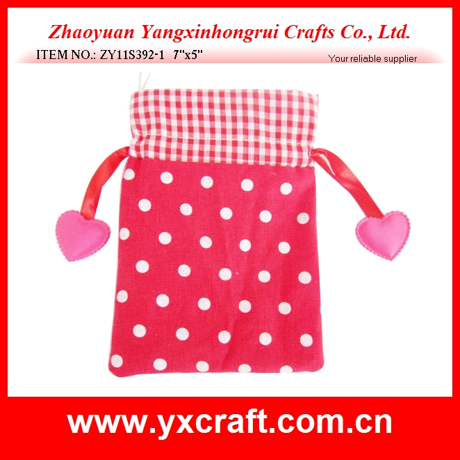 Valentine decoration (ZY11S392-1 7''x5'') Valentine bag, drawstring love bag gift, valentine decoration bag