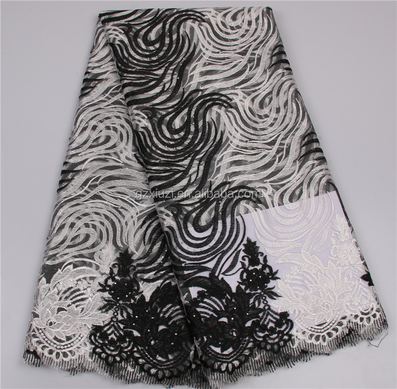 High-end Black + White African Flower Embroidered Net Lace 2016 French Tulle Lace Fabric For Grils