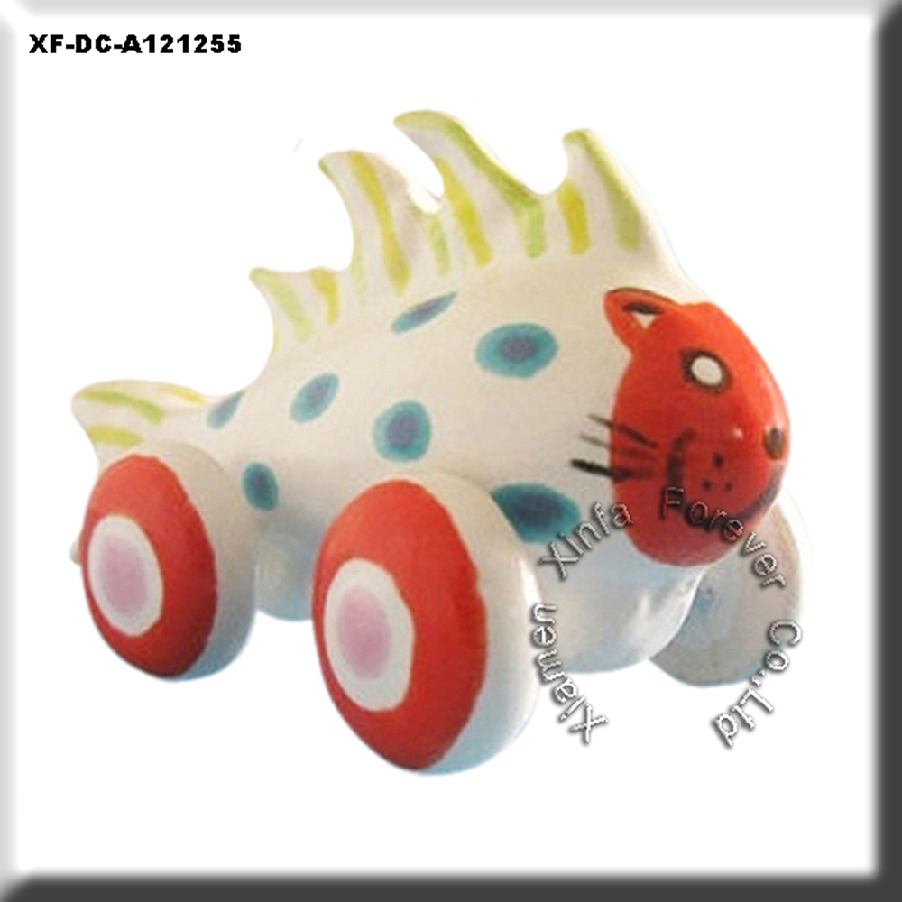 unique unpainted hobby biscuits rolling cat fish figurine