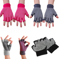 Yoga Pilates Fingerless Exercise Grip Cotton Knitted Gloves with Silicone Dots