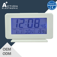 digital table clock with calendar and temperature