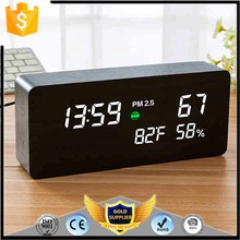 KH-0147 PM2.5 Professional Dust Air Quality Monitor Weather Station Display LED MDF Wooden Calendar Alarm Clock