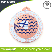 Competition custom cheap 2d metal swimming sports award medal with ribbon