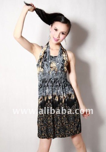 Sexy Sleeveless Special Pattern Halter Dress Grey US$14