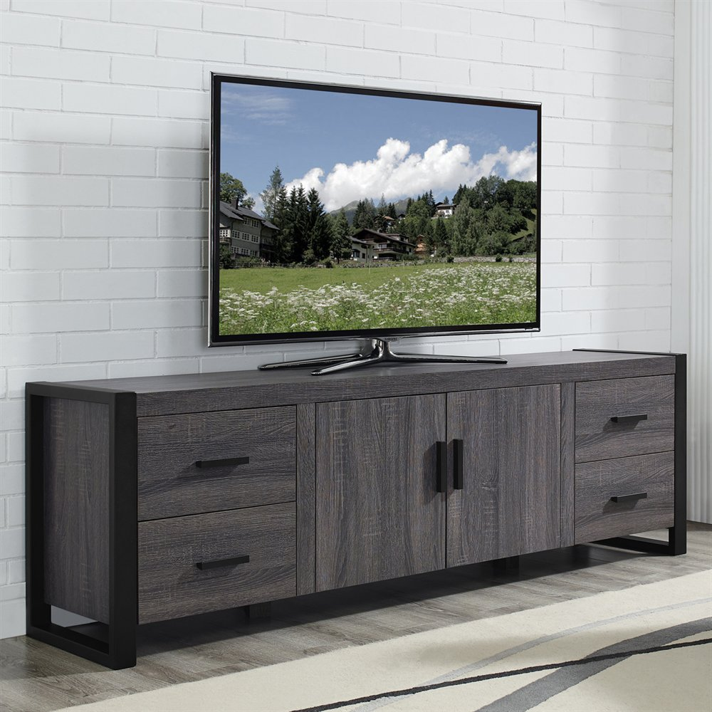 71 inch Reclaimed Grey 4 Drawer Wooden TV LCD Cabinet Designs