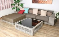 Agio round rattan Indoor home living room furniture grey color sectional sofa