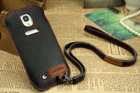 Hot Ultra Slim Sling Real Cow Leather Case For Samsung Galaxy S4 I9500 Cell Phone Case Showkoo Angel