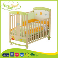 WBC-46 Wholesale Eco-friendly Wooden Folding Baby Bed Cot and Cribs