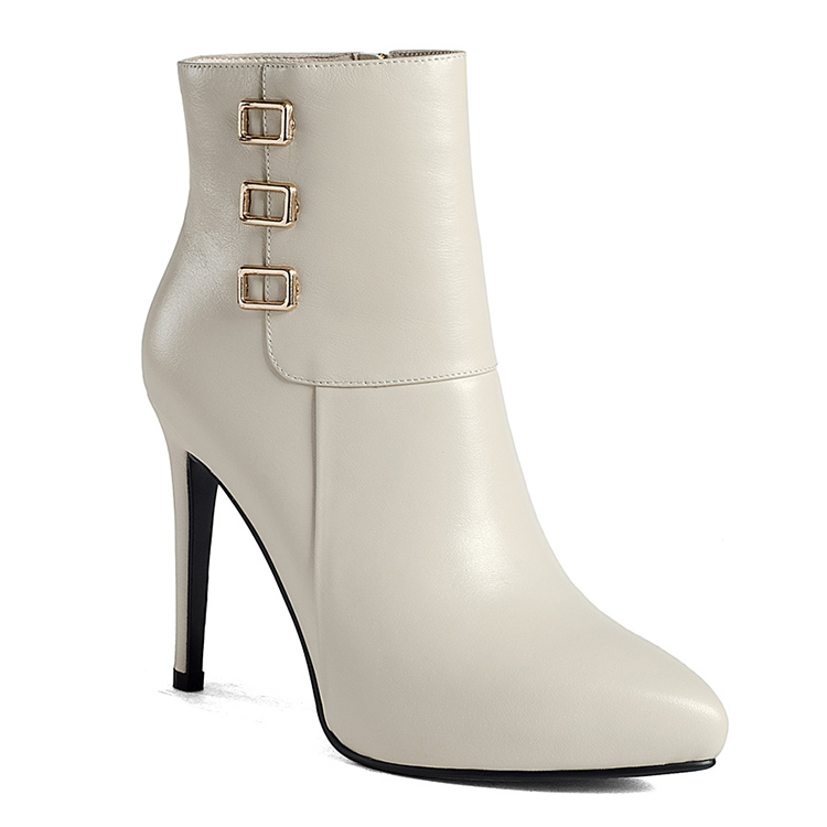 Fashion pointed toe high heels size 44 ladies rubber women winter white boots