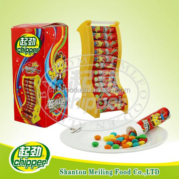 colorful rainbow chewy candy with display stand