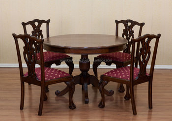 Chippendale Round Dining Room Table with 4 Dining Chairs