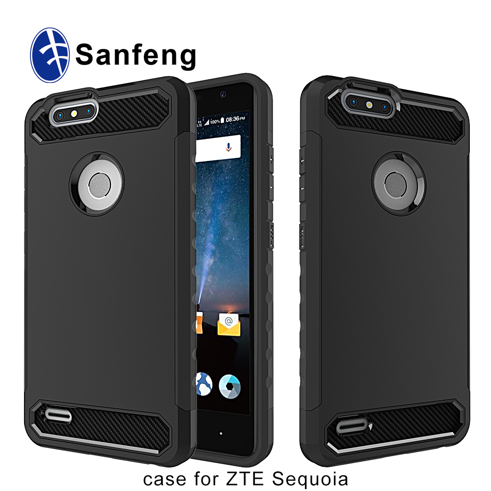 Environmental Carbon Fiber Soft TPU Hard PC Case For ZTE Z982 Blade Z Max