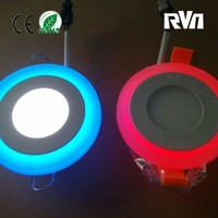 3+2W latest round warm white & blue/green/red/yellow recessed dimmable clolor led panel light controlled by switch