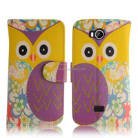 Print Purple Owl Design Wallet Leather Flip Case For Wiko Iggy