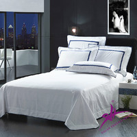Hotel bed sheet 100% cotton plain sateen white