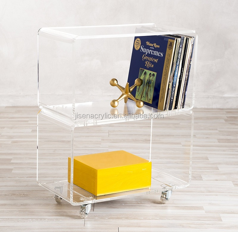 clear custom fashion novelty acrylic rolling two shelf cart table with wheels