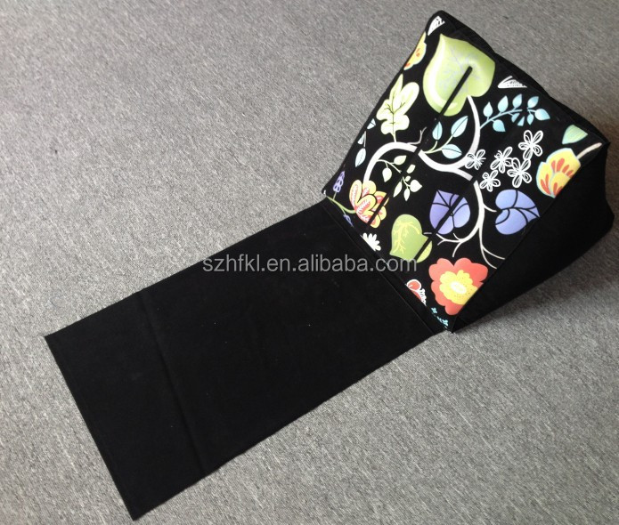 black inflatable beach wedge pillow with colorful printed