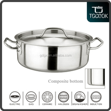 All stainless steel shallow stock pot with good quality and best price for boiling