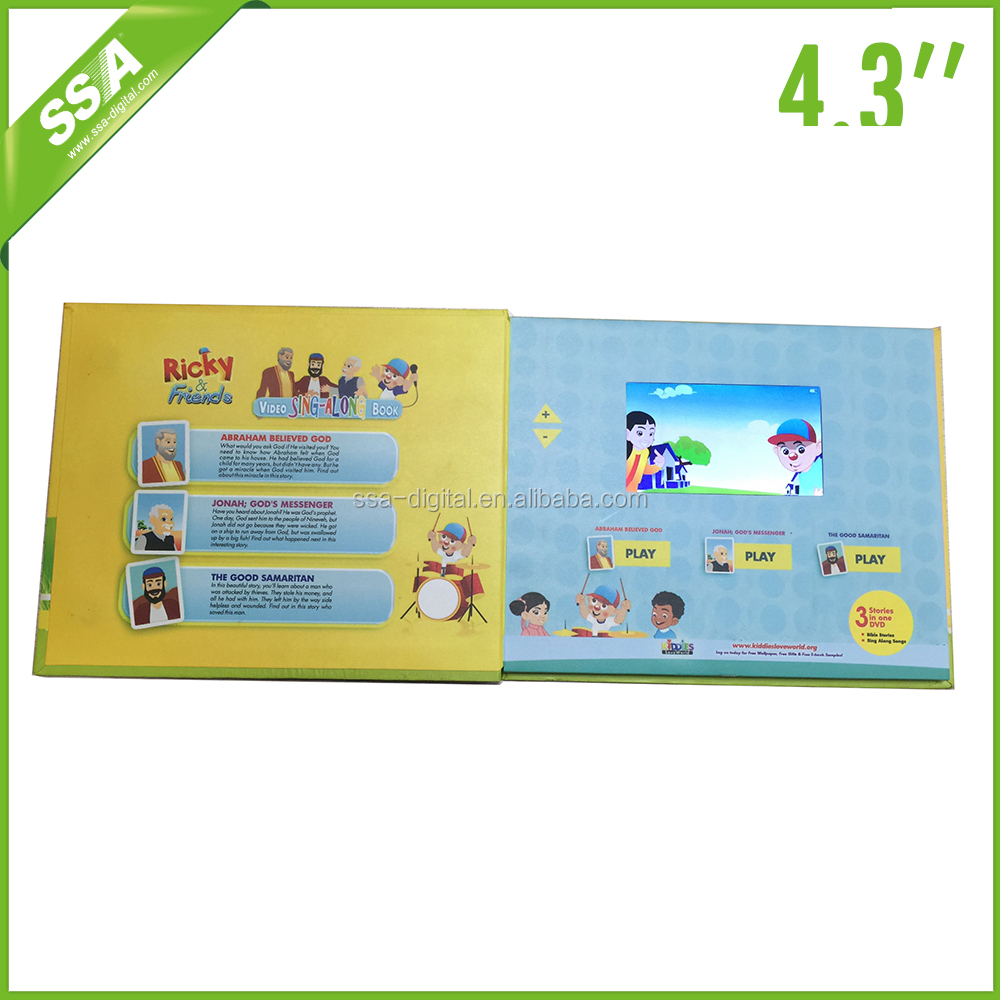 2016 promotion good quality custom video player greeting card 4.3 inch big lcd size video brochure for business advertiseming