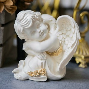 Hot Selling Pure White Poly Resin Baby Angel Figurines Decoration Cupid Statue