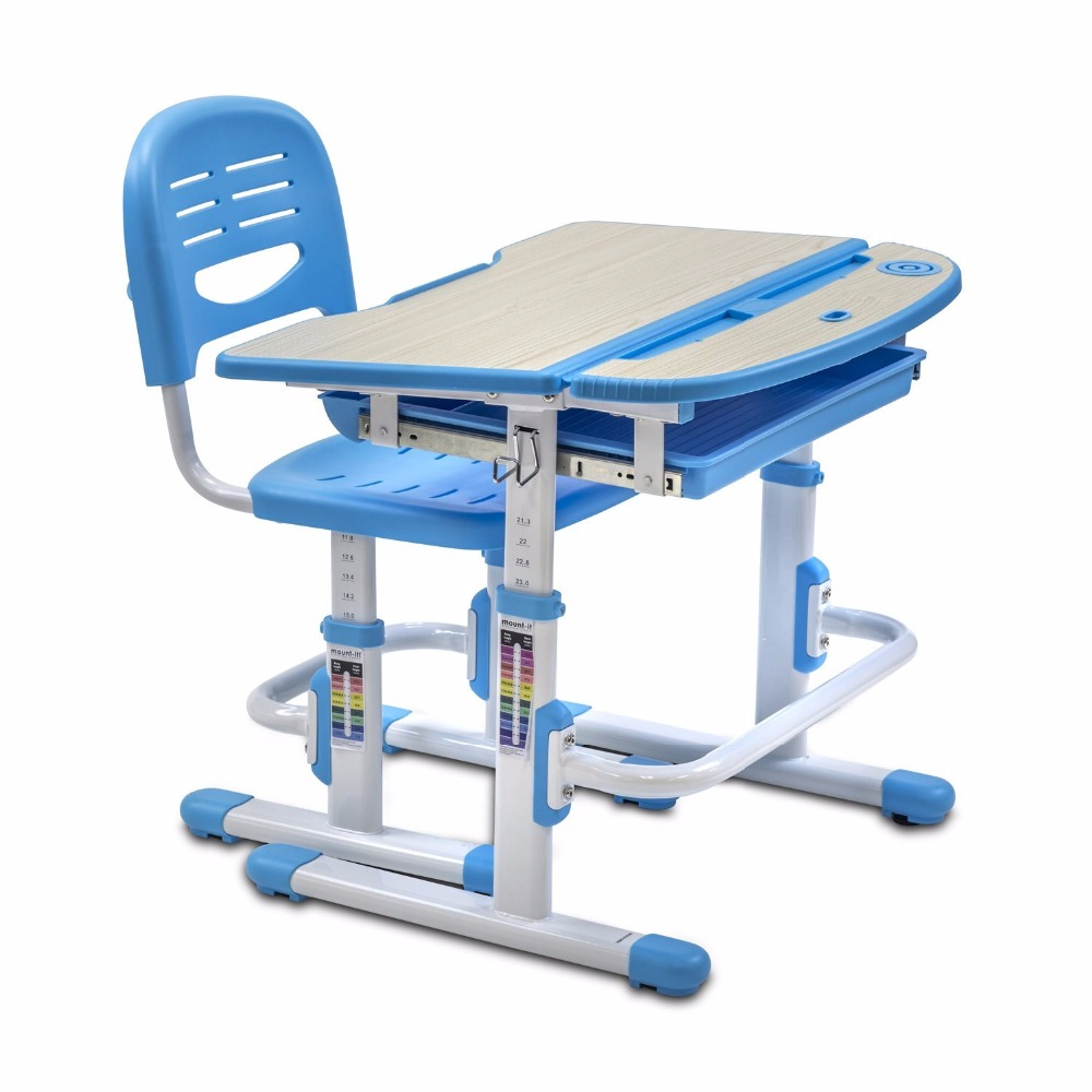 Factory direct child furniture with Height Adjustable Student Desk, study table Art Desk Workstation blue