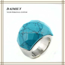 Guangzhou Daimily Wholesale Fashion Turquoise Ring Stainless Steel Blue Turquoise Ring