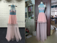 Handmade bead crafts sleevesless pink party dress hot sell frock