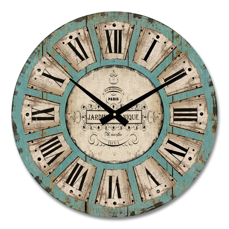 home decoration vintage style MDF wall clock,wooden clock(HD-6006)