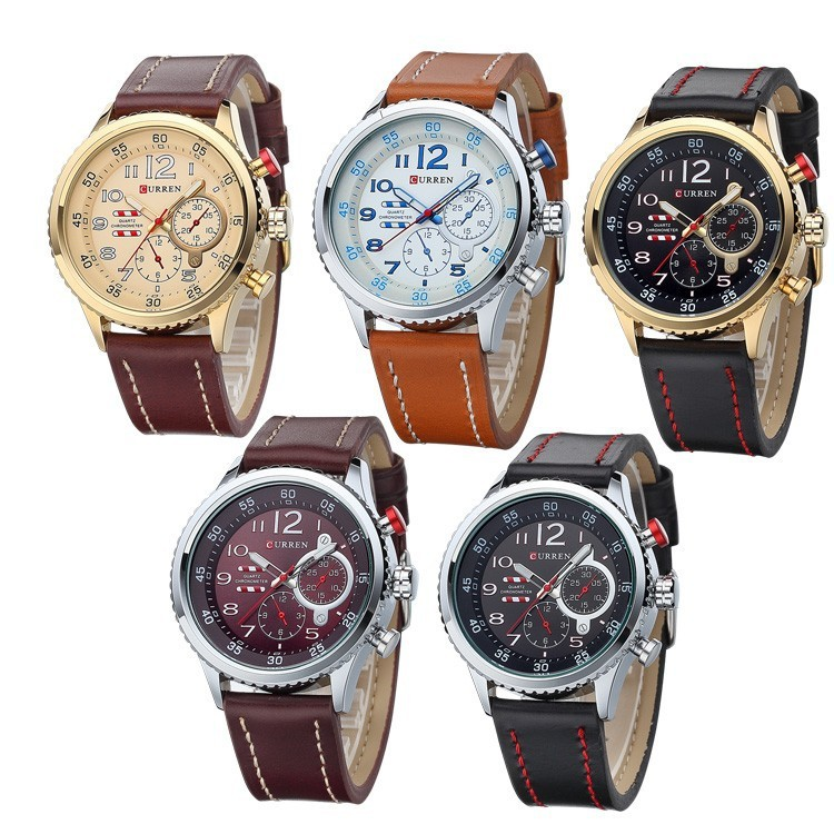 2016 Selling Brand Curren Waterproof Japan Movement Quartz Watches High quality Leather Watch For Men