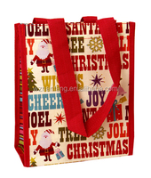2016 Custom Printed Eco-Friendly Pp Woven Christmas Shopping Bag