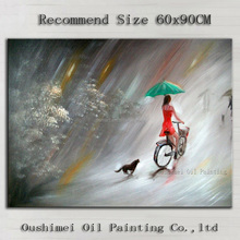 Impression Landscape A Lady Riding Bike Oil Painting On Canvas The Dog Follow With The Master Oil Painting For Wall Decoration