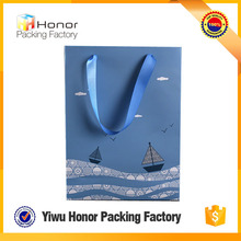 Full color printing customized elegant decorative coated birthday gift wedding ribbon design paper bags