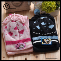 Morewin Hats wholesale promotional gift cartoon embroidery winter warm knitted gloves scarf and hats sets for kids