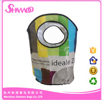 Promotional annular handle Coated woven shopping bag