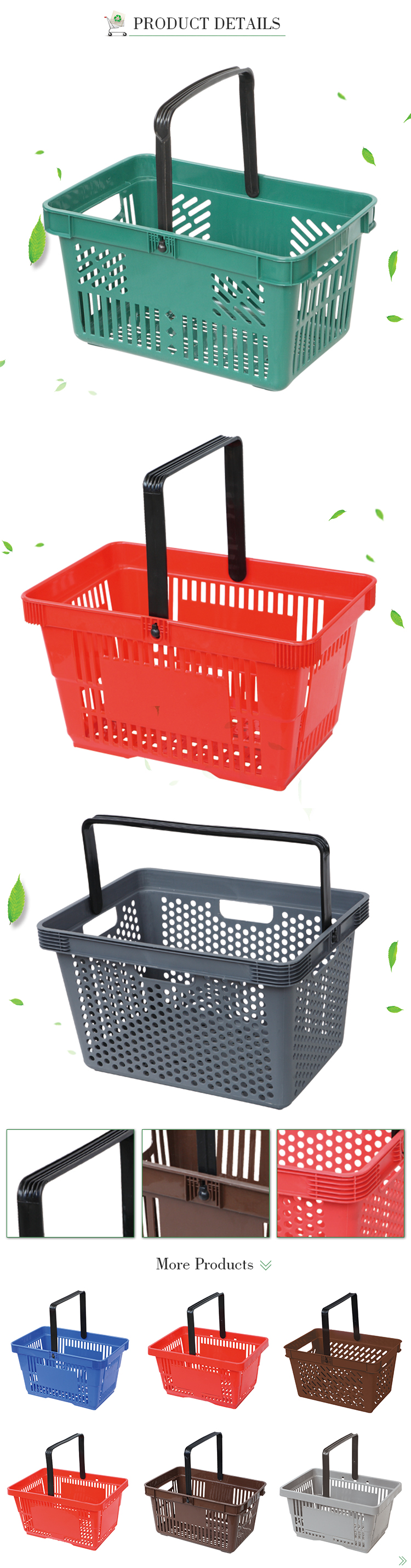Wholesale shopping hand plastic supermarket basket mini shopping baskets