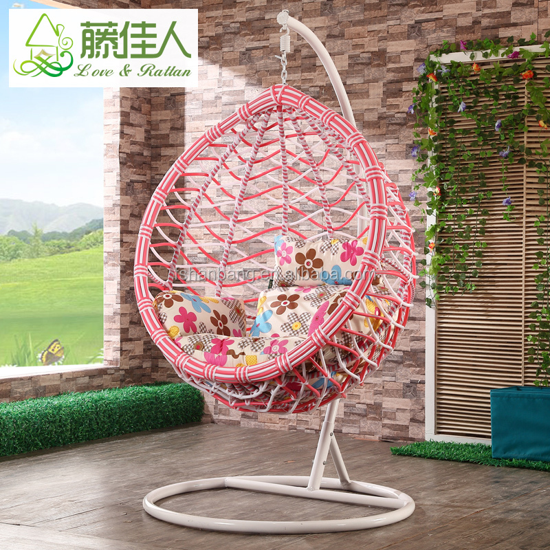 New Pink White Indoor Outdoor Patio Garden Living Room Bedroom Rattan Wicker Hanging Egg Basket Swing Chair
