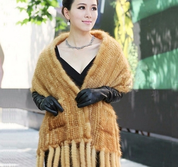Factory Directly Wholesale Price Mink Knitted Scarf /Mink Fur Scarf