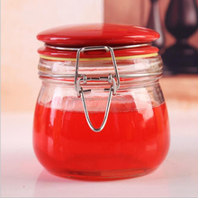 Straight sided wide mouth clear glass storage jar for sauces