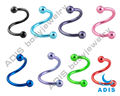 S Shaped Anodized Spiral Twister Nose Rings