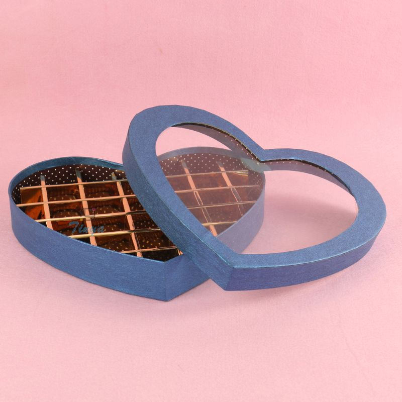 Heart shape candy paper box with clear window