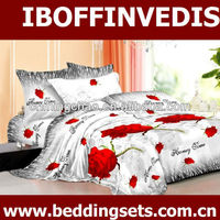 red rose white background queen 3d bed sheet set